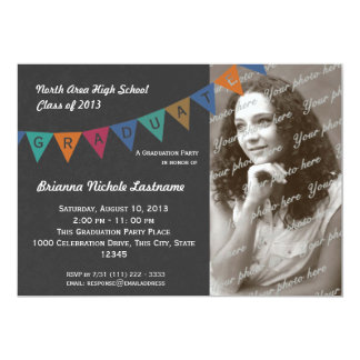 "Graduation Pennant Flag Banner with Photo 5"" X 7"" Invitation Card"