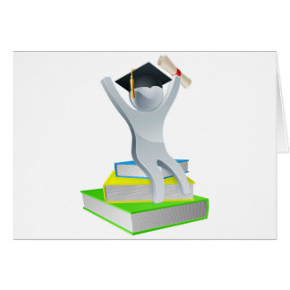 Graduation person on books greeting card