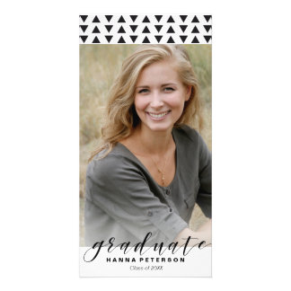 Graduation Photo Announcement triangles pattern Photo Card