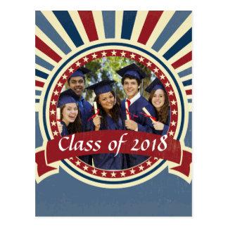 Graduation Photo blue red sunburst vintage Postcard