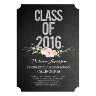 Graduation Photo Class of 2016 Chalkboard Floral Card