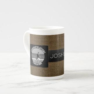Graduation Photo Class of | Monogram Rustic Burlap Tea Cup