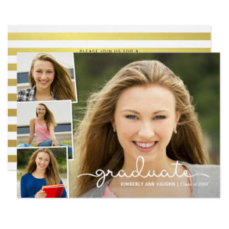 Graduation Photo Collage with Handwritten Overlay Card