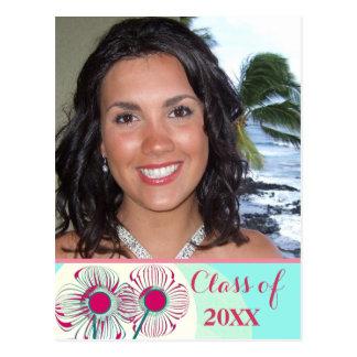Graduation Photo Invitation Pink Blue Aqua Floral Postcard