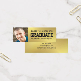 Graduation Photo Name Card Faux Gold Foil