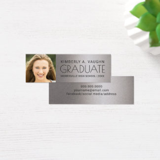 Graduation Photo Name Card Faux Silver Foil