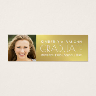Graduation Photo Name Card Girl's Faux Gold Foil