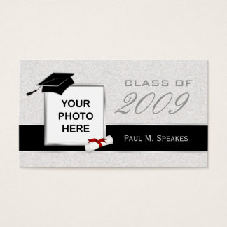Graduation Photo Name Card - Gray and Black