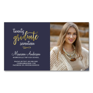 Graduation Photo Name Cards Faux Gold Foil Accents Magnetic Business Card