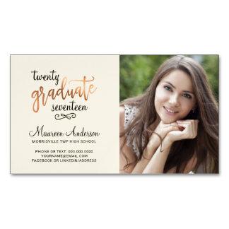Graduation Photo Name Cards Faux Rose Foil