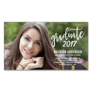Graduation Photo Name Cards Modern Handwritten