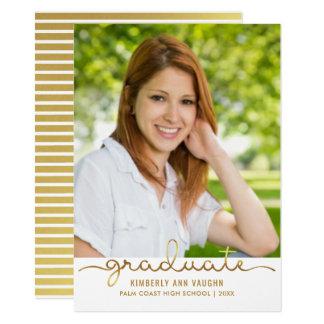 Graduation Photo Simple DIY Gold Stripe Flat Card