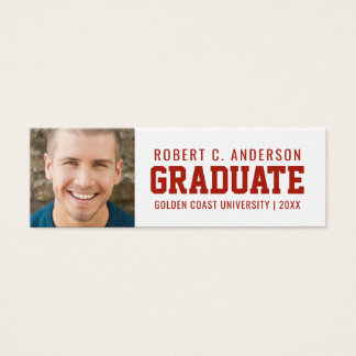 Graduation Photo Sporty Name Card - Custom Colors