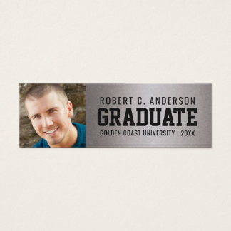 Graduation Photo Sporty Name Card Faux Silver Foil