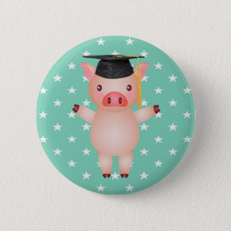 Graduation Pig and Stars 2 Inch Round Button