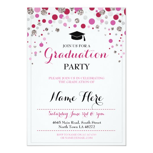 Graduation Pink Silver Party Polka Dot Invite
