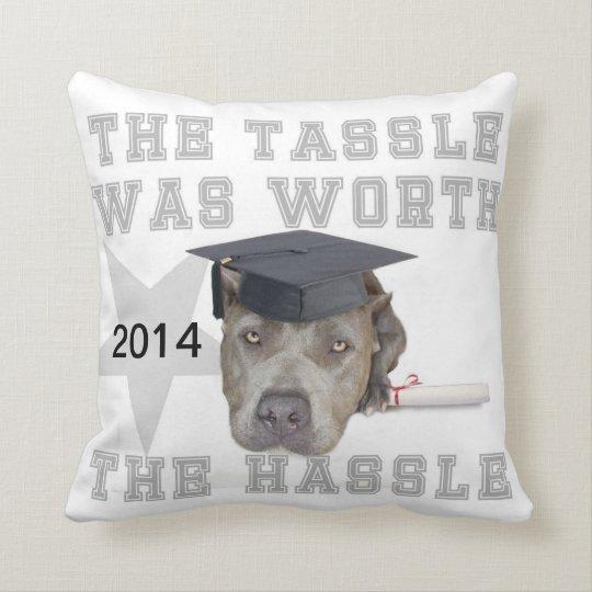 Graduation pitbull dog  Mojo pillow