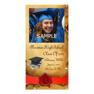 GRADUATION  RED BROWN WAX SEAL MONOGRAM CUSTOMIZED PHOTO CARD