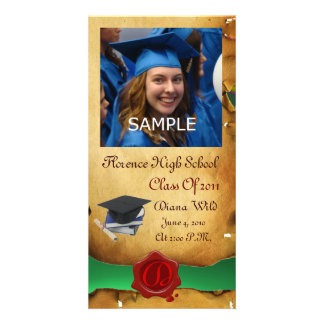 GRADUATION  RED BROWN WAX SEAL MONOGRAM green Personalized Photo Card