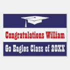Graduation Red, White and Blue Sign