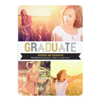 Graduation Ribbon Photo Announcement Party Invite