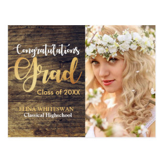 Graduation Rustic Wood Golden scripted text Postcard