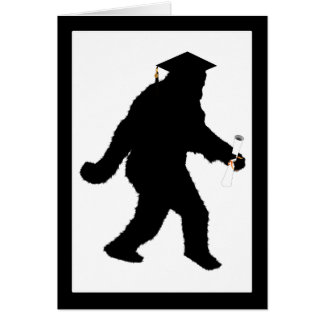 Graduation Sasquatch with Grad Cap Card