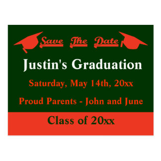 Graduation Save The Date Card - Orange