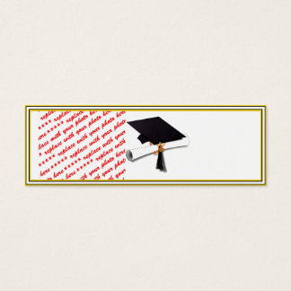 Graduation School Colors Black & Gold Frame Mini Business Card