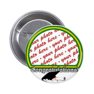 Graduation School Colors Green & Gold Frame 2 Inch Round Button
