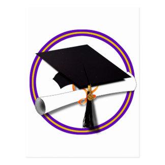 Graduation School Colors Purple and Gold Postcard