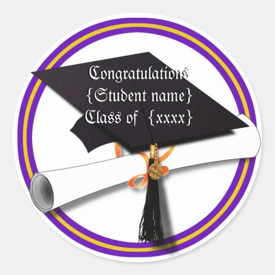Graduation School Colours Purple and Gold Classic Round Sticker