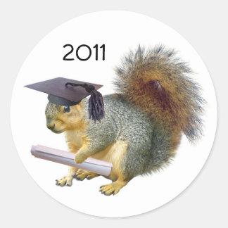 Graduation Squirrel Round Sticker