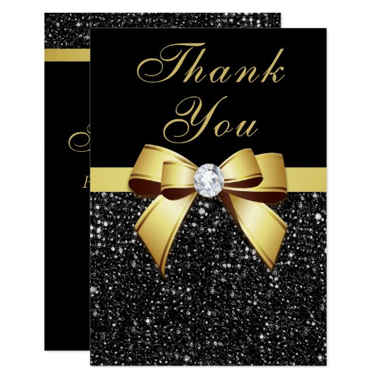 Graduation Thank You Black Sequins Gold Bow Card