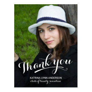 Graduation Thank You Modern Script Photo Postcard