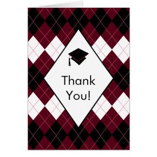 Graduation Thank You Note Card Black & Red Argyle