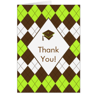 Graduation Thank You Note Card Brown Green Argyle