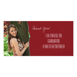 Graduation Thank You Photo Card Red Torn Paper