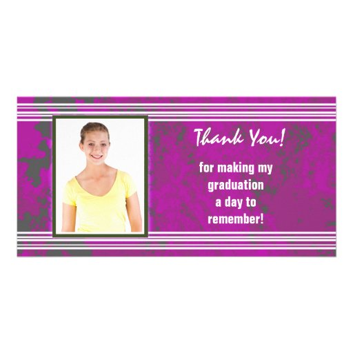Graduation Thank You Photo Card Stripes Pink White