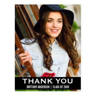 Graduation Thank You Photo Modern Postcard BW