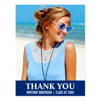 Graduation Thank You Photo Postcard Blue