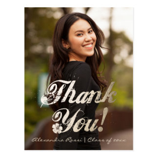 Graduation Thank You Postcard | Gold