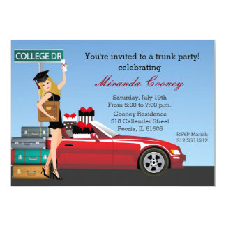 """Graduation Trunk Party College Going Away Blonde 5"""" X 7"""" Invitation Card"""