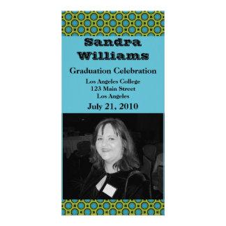 graduation turquoise green circles custom photo card
