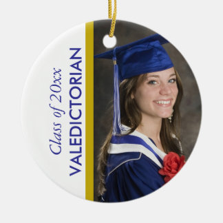 Graduation Valedictorian Blue White Photo Ceramic Ornament