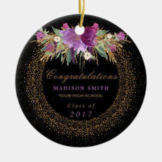 Graduation Watercolor Glitter Flower Gold Confetti Ceramic Ornament