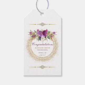Graduation Watercolor Glitter Flower Gold Confetti Gift Tags