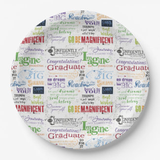 Graduation Word Art Paper Plate