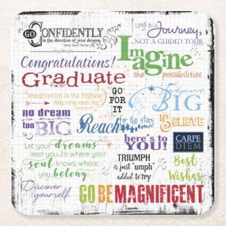 Graduation Word Art Square Paper Coaster