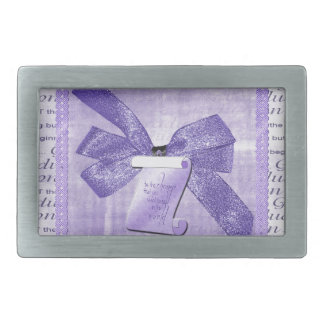 Graduation Words, Big Bow with Diploma, Purple Rectangular Belt Buckle
